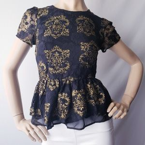 Moon Collection Black & Gold Lace Peplum Blouse